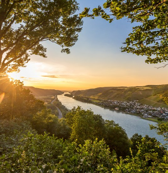 View from Krahnenberg Andernach over the Rhine valley and the vineyards of Leutesdorf | © Andernach.net GmbH / 90Grad Photography