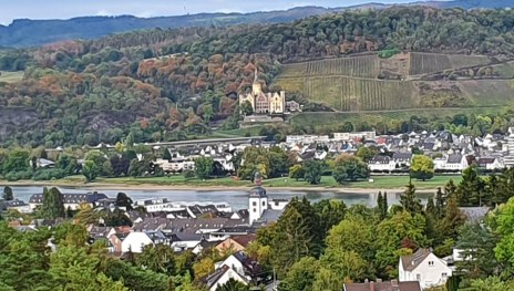 View of Arenfels Castle and the rhine valley